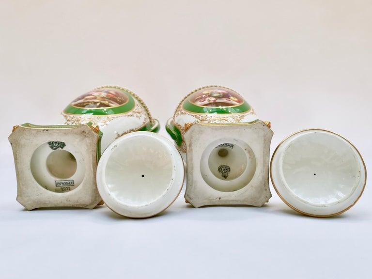 Royal Worcester 2 Porcelain Vases, Green Floral, Signed William Hawkins, 1907 For Sale 9