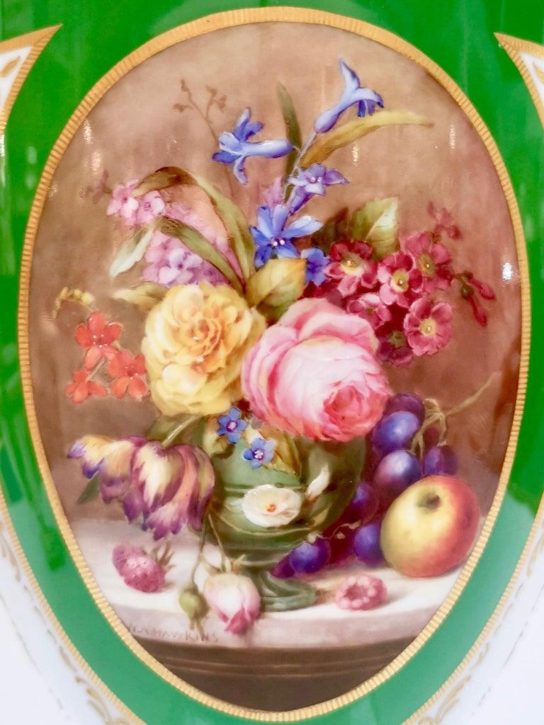 English Royal Worcester 2 Porcelain Vases, Green Floral, Signed William Hawkins, 1907 For Sale