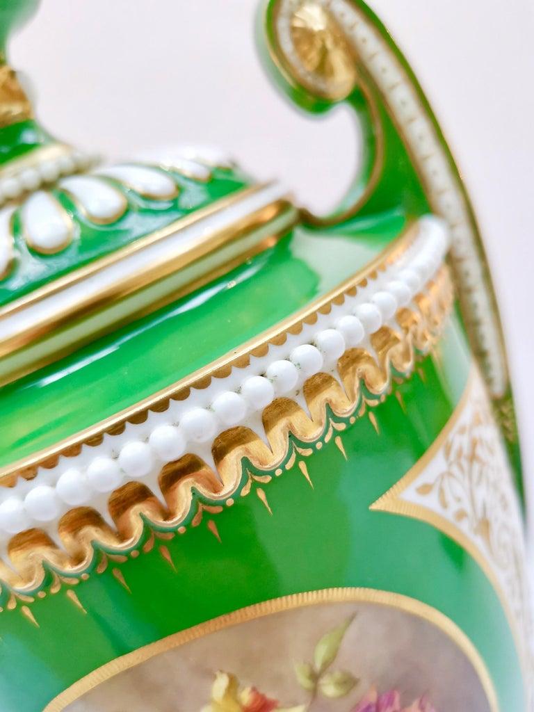 Royal Worcester 2 Porcelain Vases, Green Floral, Signed William Hawkins, 1907 For Sale 2