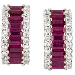 Pair of Rubie and Diamond Huggie Earrings