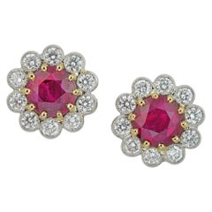 Pair of Ruby and Diamond Cluster Earrings