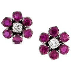 Pair of Ruby and Diamond Floral Cluster Stud Earrings