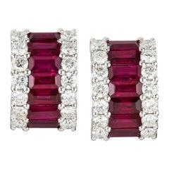 Pair of Ruby and Diamond Huggie Earrings