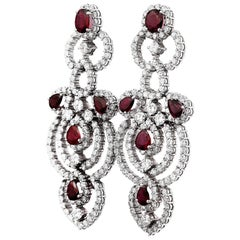 Retro Pair of Ruby & Diamond Drop/Chandelier Earrings in 18K White Gold