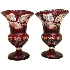 Pair of Ruby Intaglao Cut to Clear Glass Campana Mantle Urns