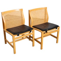 Pair of Rud Thygesen and Johnny Sorensen Cane Back Side Chairs