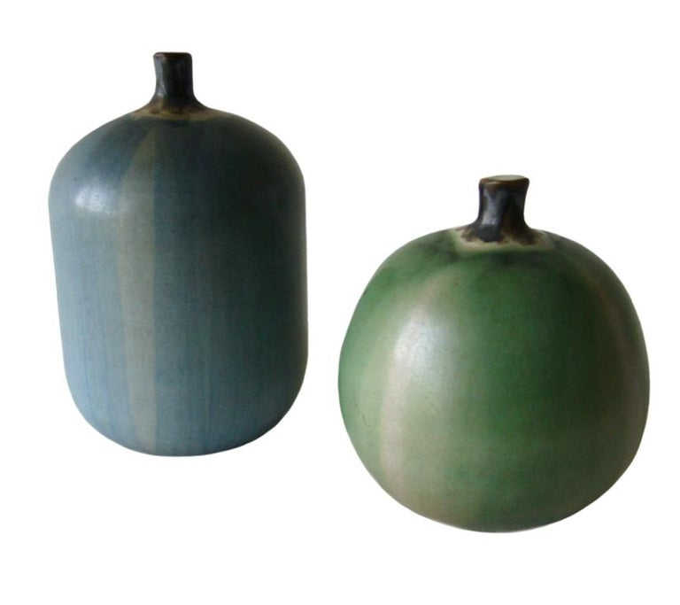 Pair of stoneware apples created by Claremont California ceramist, Rupert Deese. Apples measure 4.5