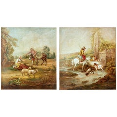 Pair of Rural Late 19th Century Oil on Canvas Paintings