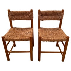 Pair of Rush Dordogne Chairs by Charlotte Perriand for Sentou