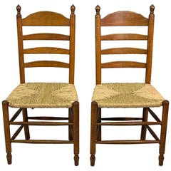 Pair of Rush Seat Ladder Back Side Chair