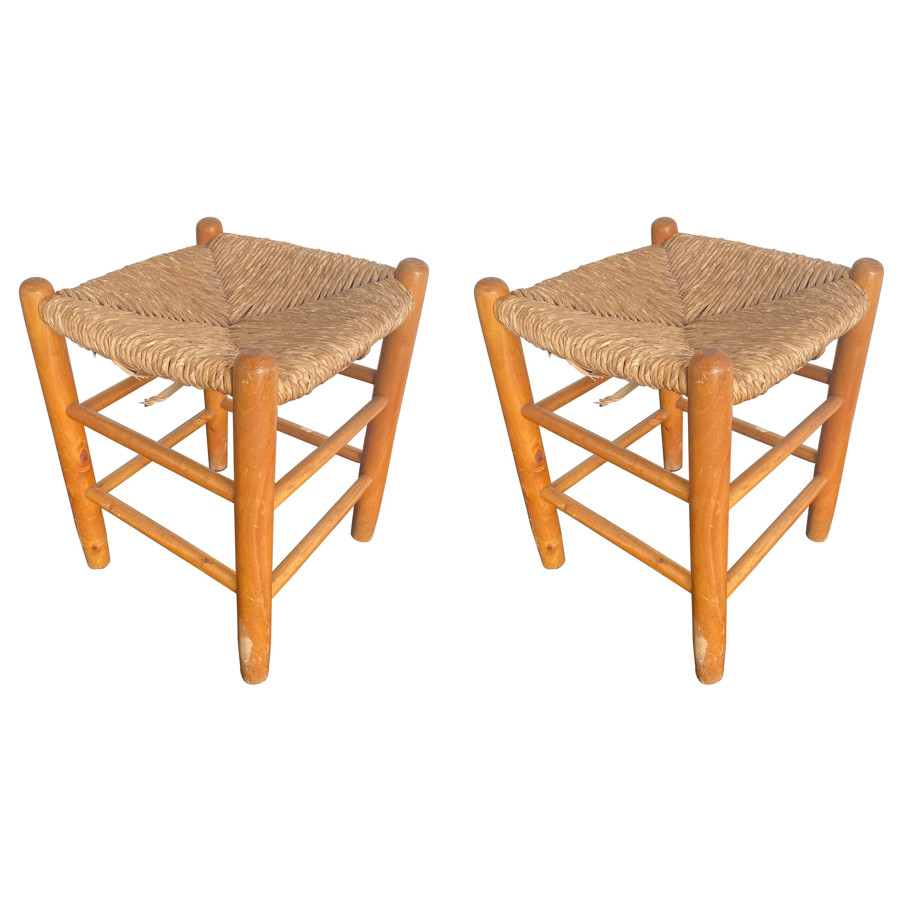 Pair of Wood and Straw Stools by Charlotte Perriand