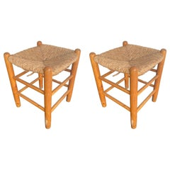 Pair of Rush Seated Stools in the Manner of Charlotte Perriand