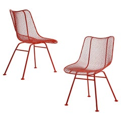 Pair of Russall Woodard Red Coated 'Sculptura' Patio Chairs