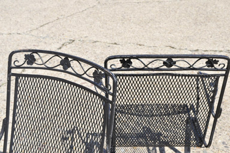Pair Of Russel Woodard Wrought Iron Patio Bouncer Lounge