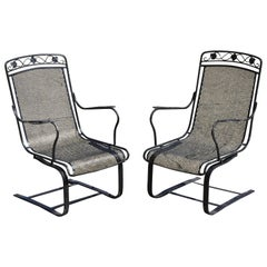Pair of Russel Woodard Wrought Iron Patio Bouncer Lounge Armchair Maple Leaf
