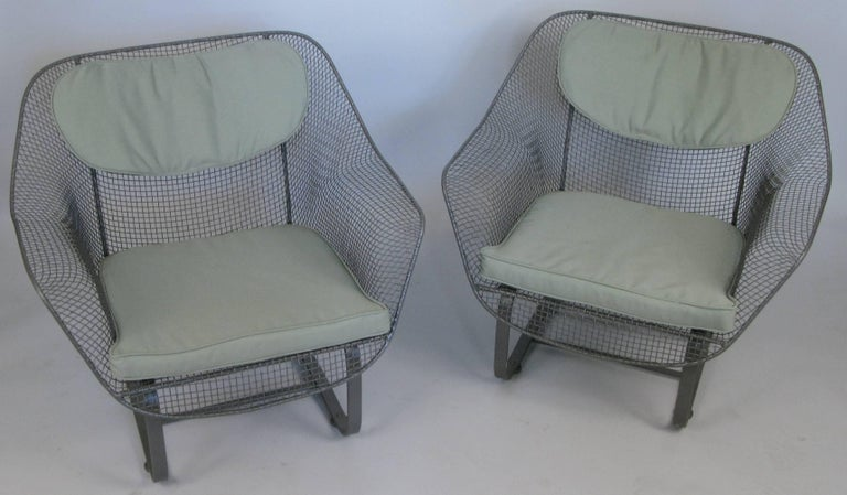 Wrought Iron Pair of Russell Woodard 1950s Sculptura Lounge Chairs For Sale