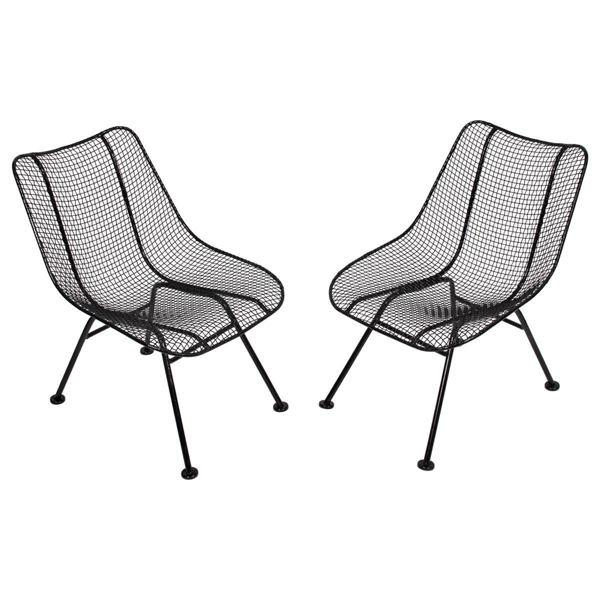 "Pair of Russell Woodard Black ""Sculptura"" Lanai Chairs, 1950s"