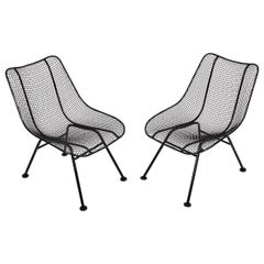 "Pair of Russell Woodard Black ""Sculptura"" Lanai Chairs, 1950s"