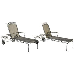 Pair of Russell Woodard Patio Garden Reclining Wrought Iron Chaise Lounge Chairs