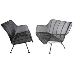 Pair of Russell Woodard Powder-Coated Wrought Iron with Steel Mesh Settees