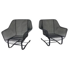 Pair of Russell Woodard Springer Lounge Chairs Powder Coated Black