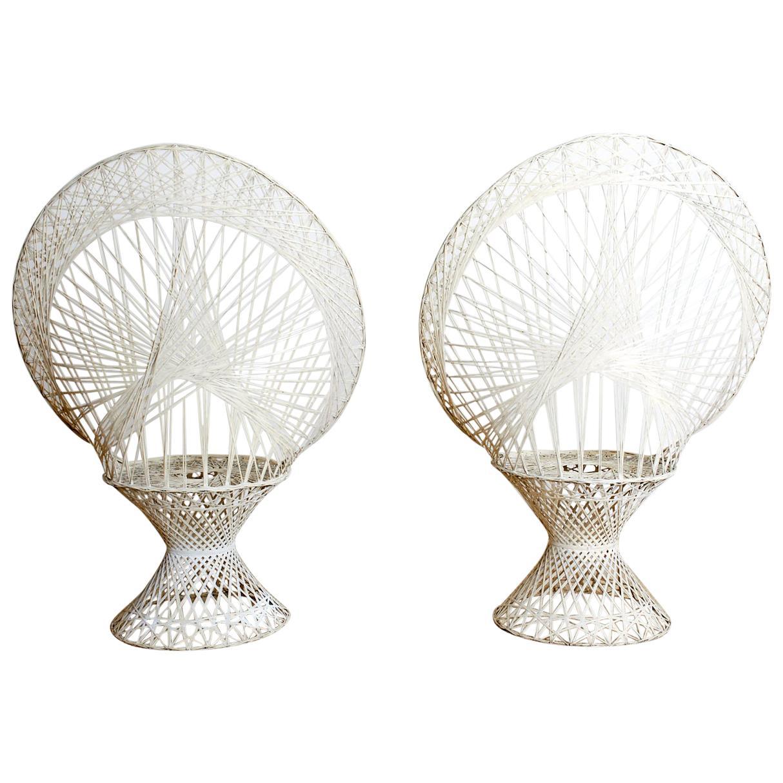 Pair of Russell Woodard Spun Fiberglass Peacock Chairs
