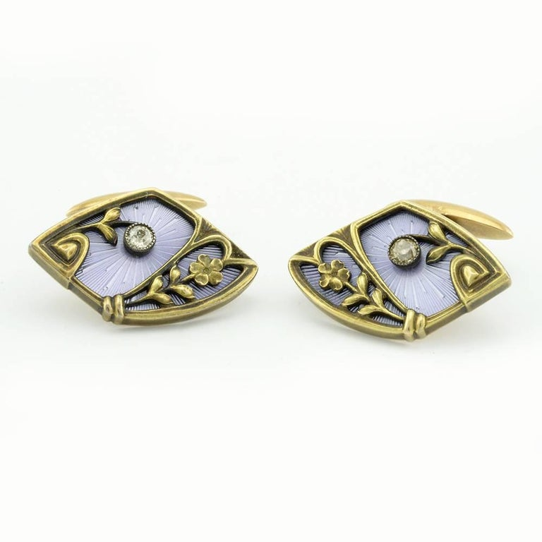 Art Nouveau Pair of Russian Antique Gold, Guilloché Enamel and Diamond Cufflinks For Sale