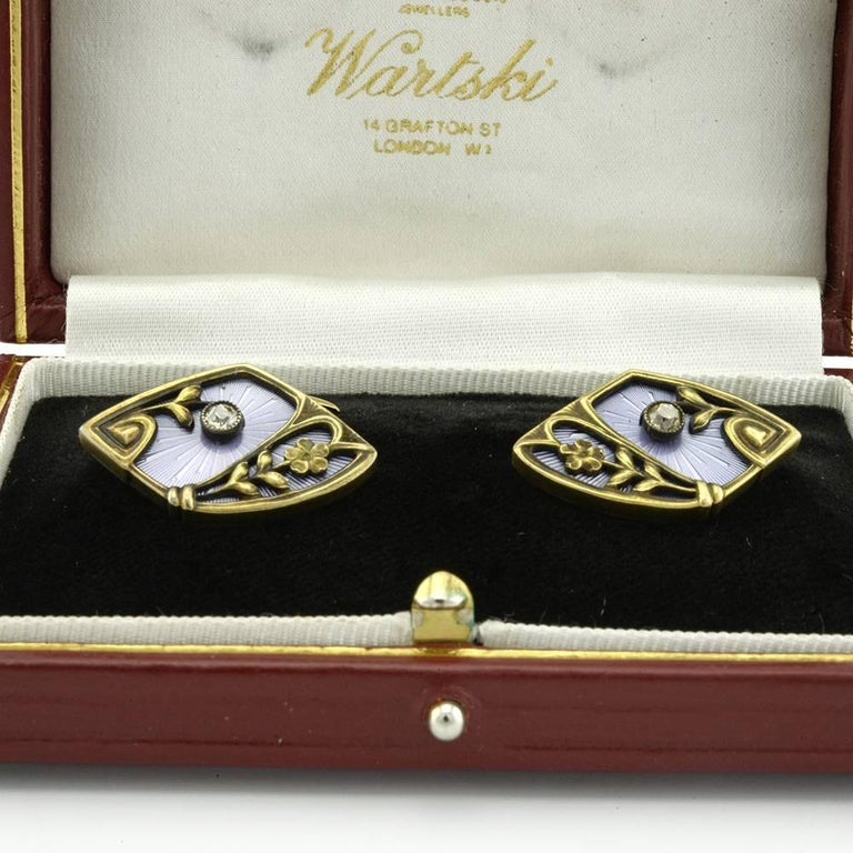 Pair of Russian Antique Gold, Guilloché Enamel and Diamond Cufflinks In Good Condition For Sale In Redmond, WA