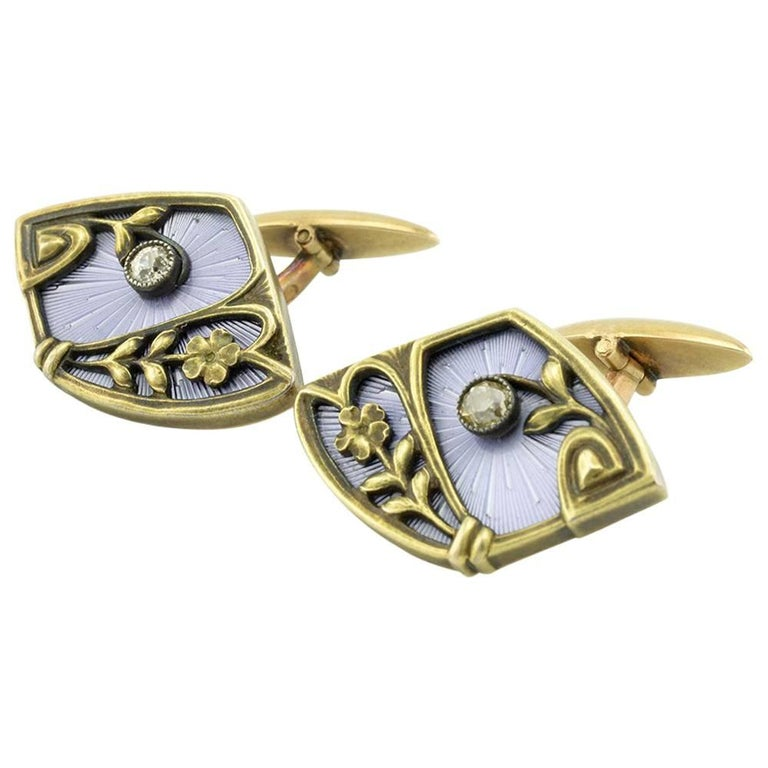 Pair of Russian Antique Gold, Guilloché Enamel and Diamond Cufflinks For Sale