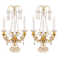 Pair of Russian Early 19th Century Neoclassical Style Three Arm Girandole Lamps
