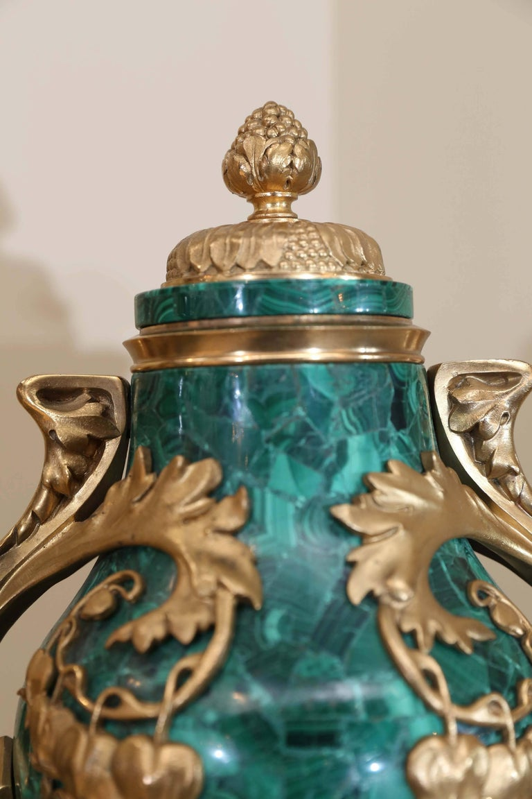 Art Nouveau Pair of Russian Malachite Capped Urns in the Nouveau Style with Ormolu Mounts For Sale