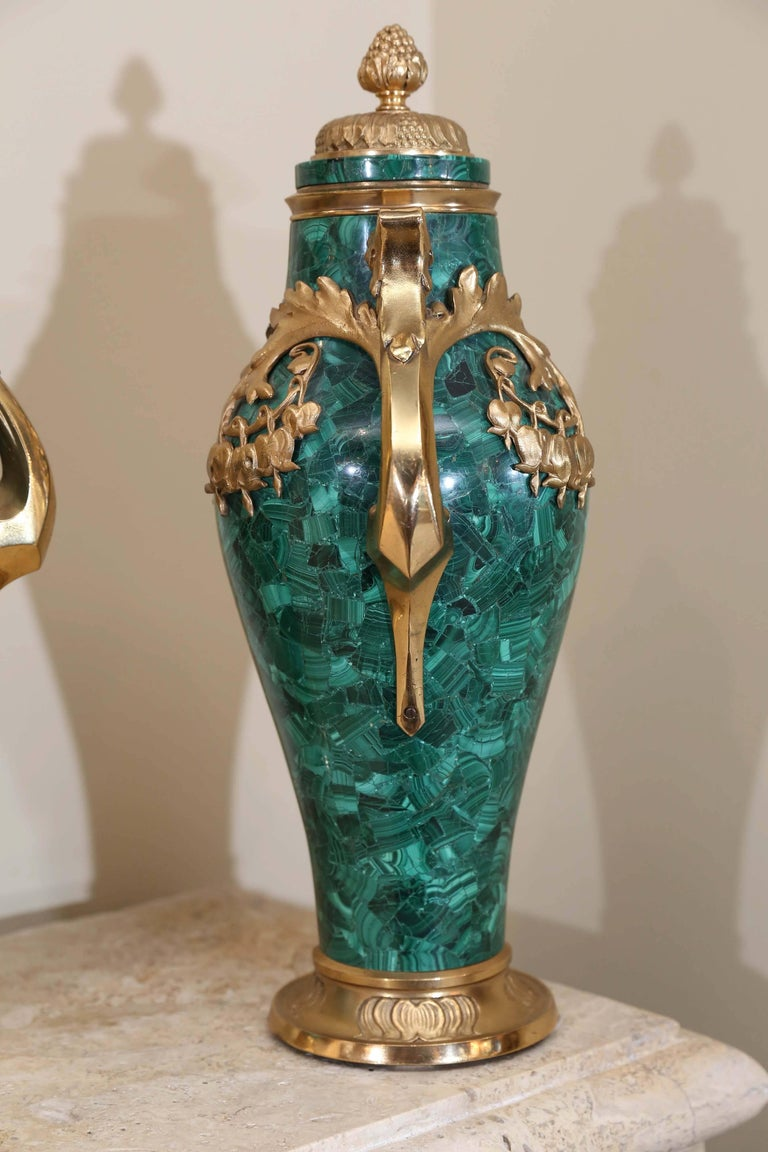 Baltic Pair of Russian Malachite Capped Urns in the Nouveau Style with Ormolu Mounts For Sale