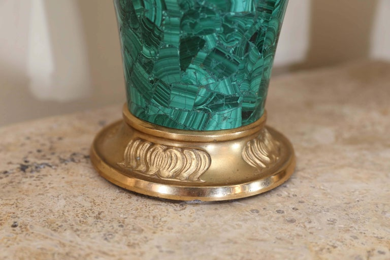 Pair of Russian Malachite Capped Urns in the Nouveau Style with Ormolu Mounts In Excellent Condition For Sale In Houston, TX