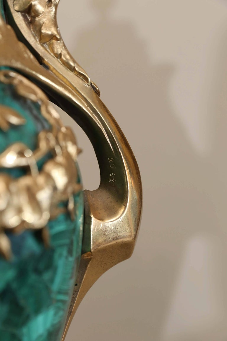 20th Century Pair of Russian Malachite Capped Urns in the Nouveau Style with Ormolu Mounts For Sale