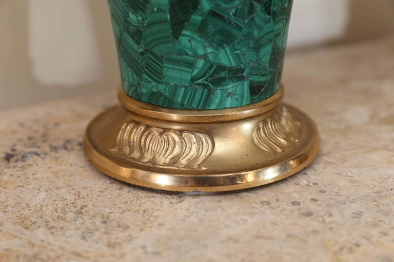 Pair of Russian Malachite Capped Urns in the Nouveau Style with Ormolu Mounts For Sale 1