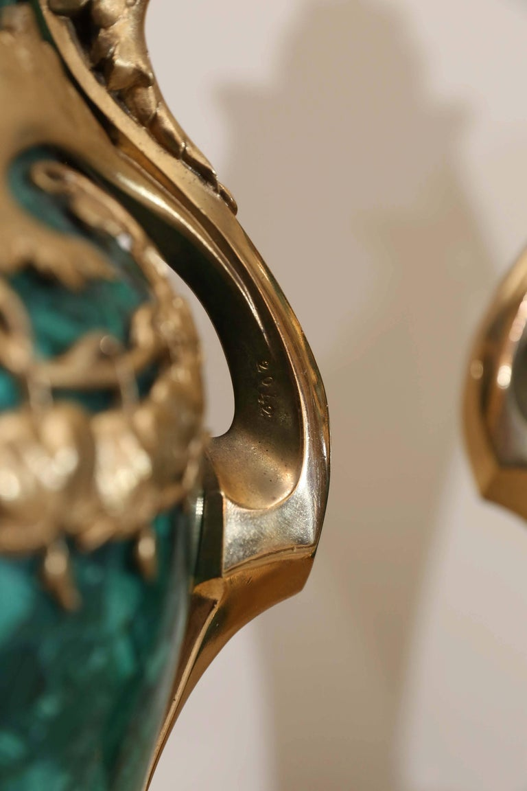 Pair of Russian Malachite Capped Urns in the Nouveau Style with Ormolu Mounts For Sale 2