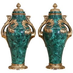 Pair of Russian Malachite Capped Urns in the Nouveau Style with Ormolu Mounts