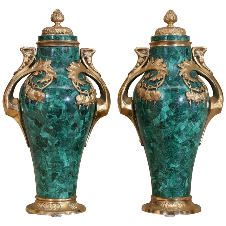 Pair of Russian Malachite Capped Urns in the Nouveau Style with Ormolu Mounts For Sale