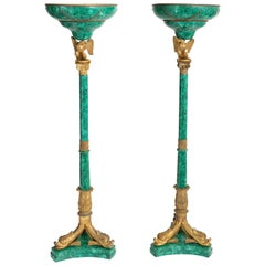 Pair of Russian Malachite Empire Style Floor Lamps