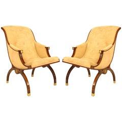 Pair of Russian Neoclassic Mahogany Sleigh Back Armchairs