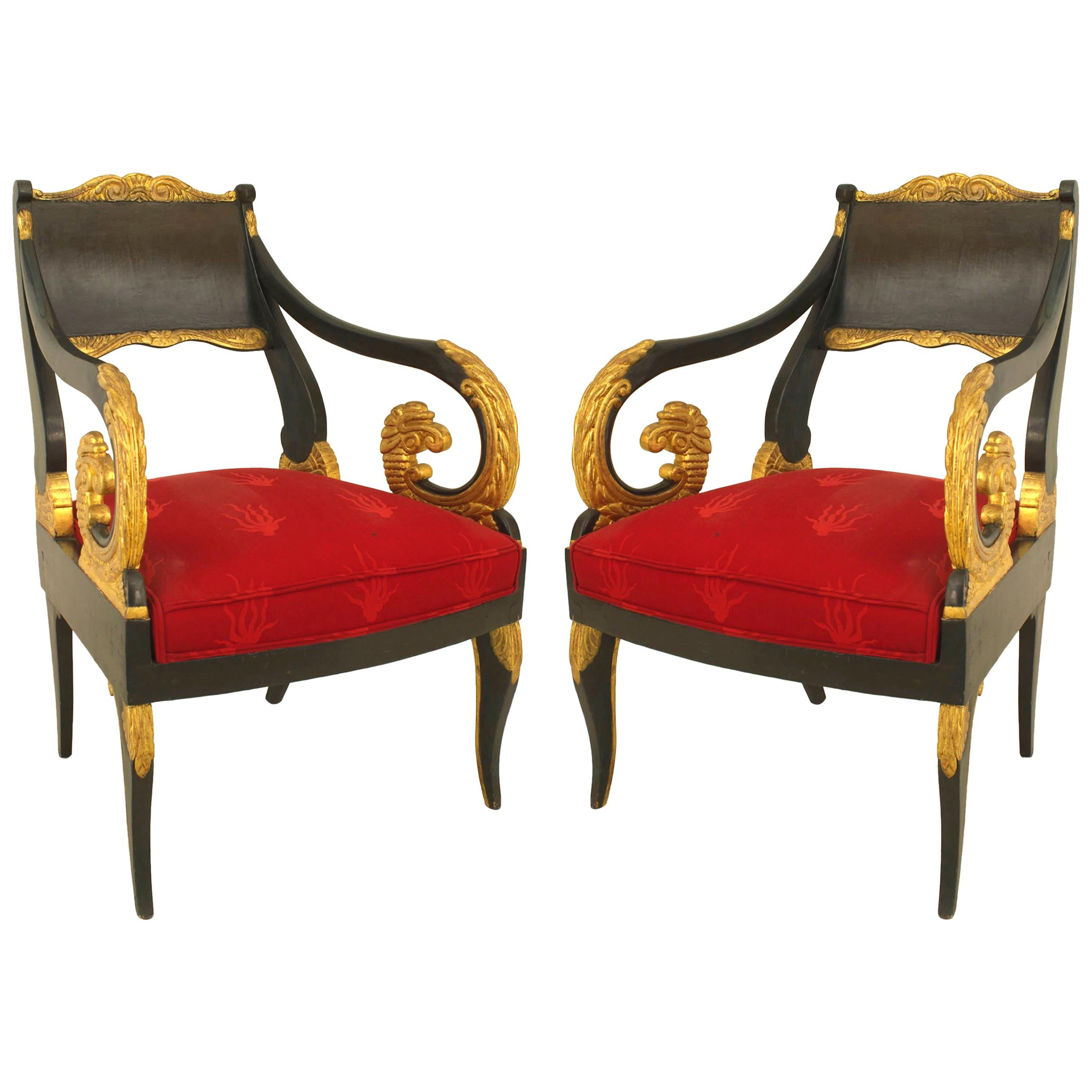 Pair of Russian Neoclassic Painted and Parcel Gilt Armchairs