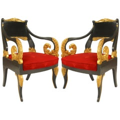 Pair of Russian Neoclassic Parcel Gilt Bird Heads Armchairs