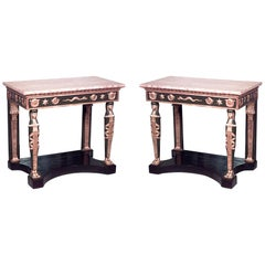 Pair of Russian Neoclassic Style Parcel Gilt Console Tables