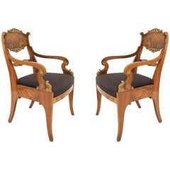 Pair of Russian Neoclassic Walnut Armchairs