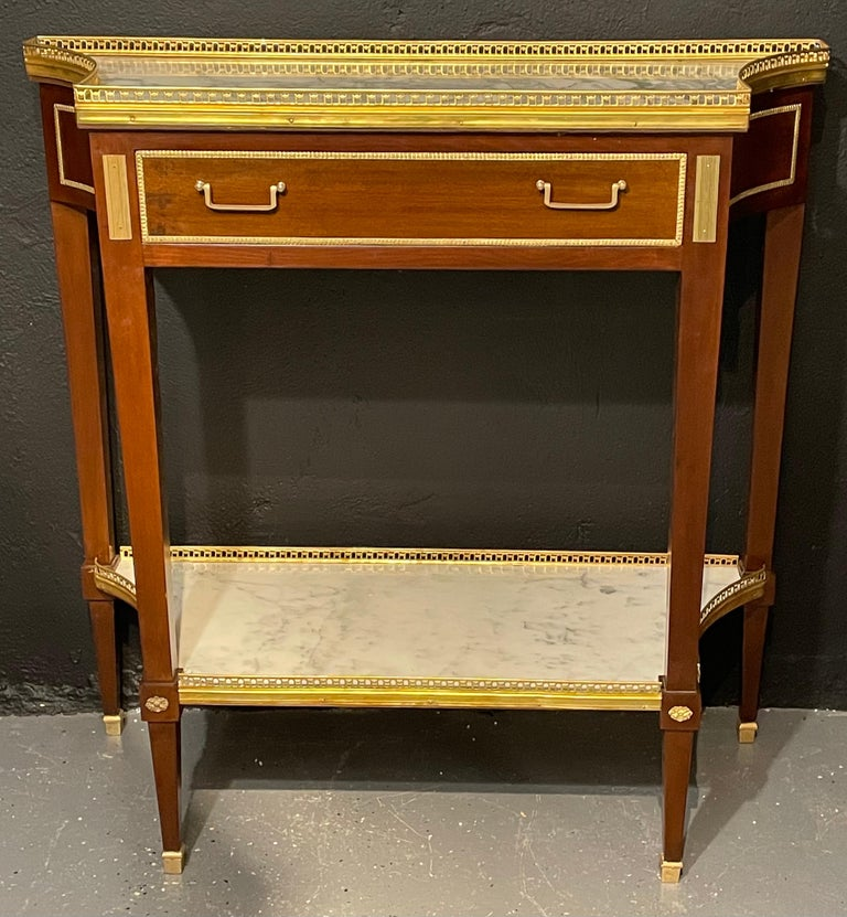 Hollywood Regency Pair of Russian Neoclassical Console Tables, Sofa Tables or Bedside Stands For Sale