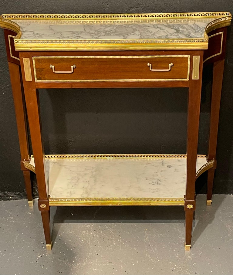 Pair of Russian Neoclassical Console Tables, Sofa Tables or Bedside Stands In Good Condition For Sale In Stamford, CT