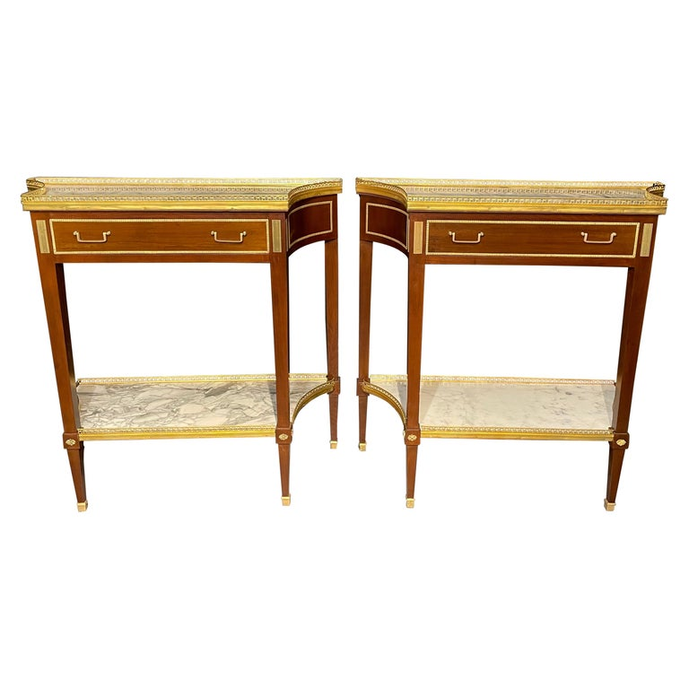 Pair of Russian Neoclassical Console Tables, Sofa Tables or Bedside Stands For Sale
