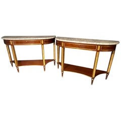 Pair of Russian Neoclassical Consoles / Sofa Tables or Sideboards, Demilune