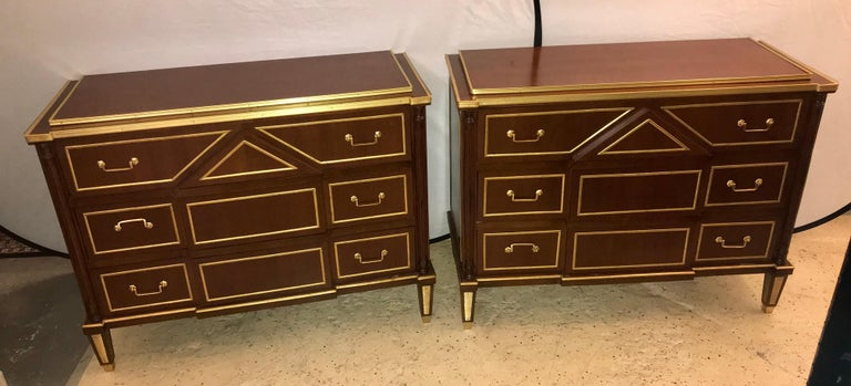 Hollywood Regency Pair of Russian Neoclassical Style Commodes / Bedside Nightstands or Servers For Sale