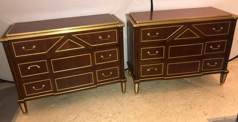 Pair of Russian Neoclassical Style Commodes / Bedside Nightstands or Servers In Good Condition For Sale In Stamford, CT